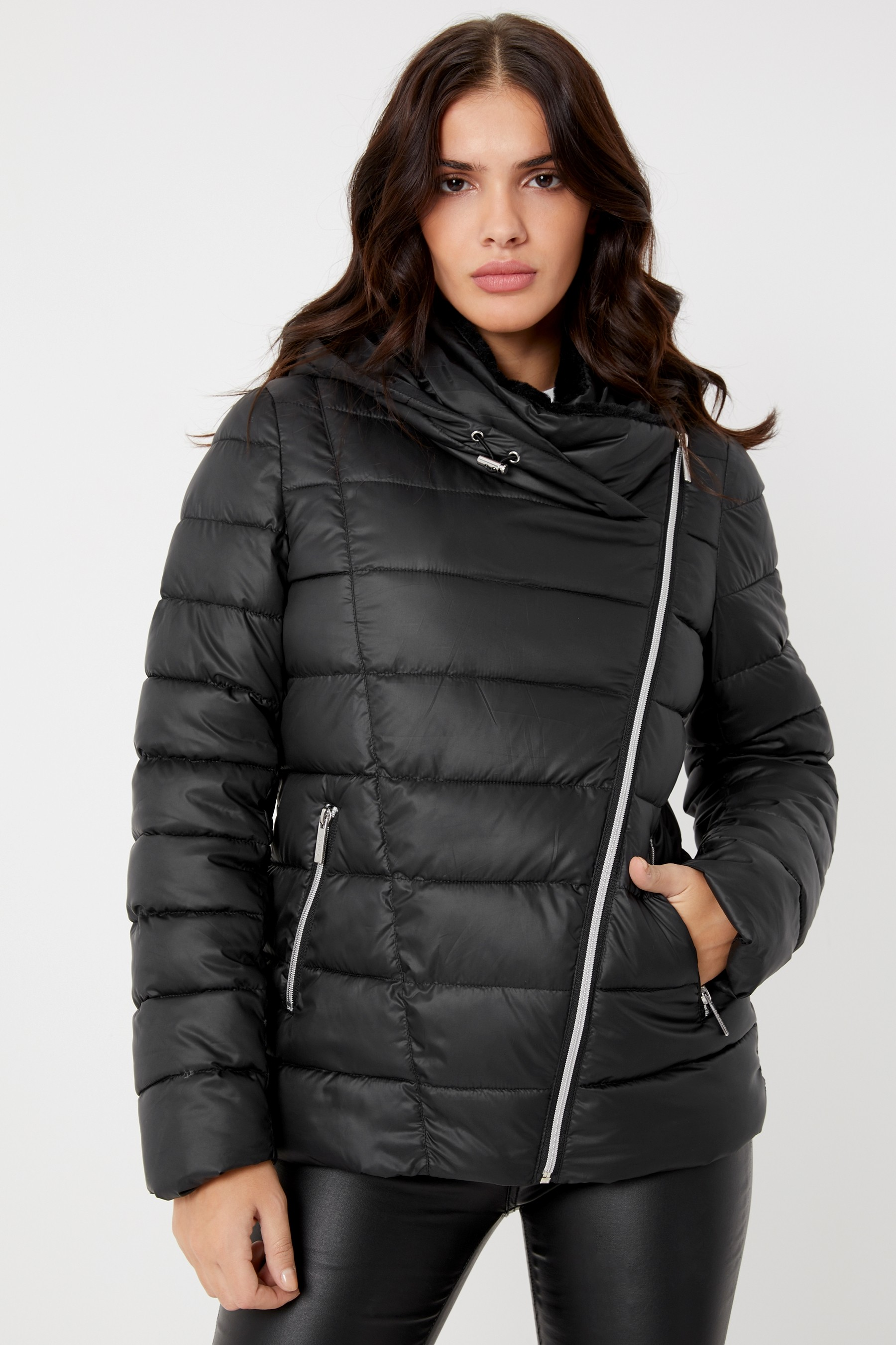 728d87d7f6c Womens Lipsy Essential Faux Fur Lined Hood Short Padded Coat - Black ...