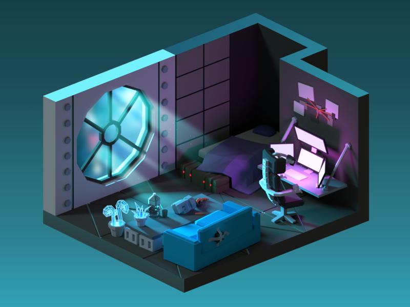 Cyberpunk Room In 2019 Game Room Design Isometric Art