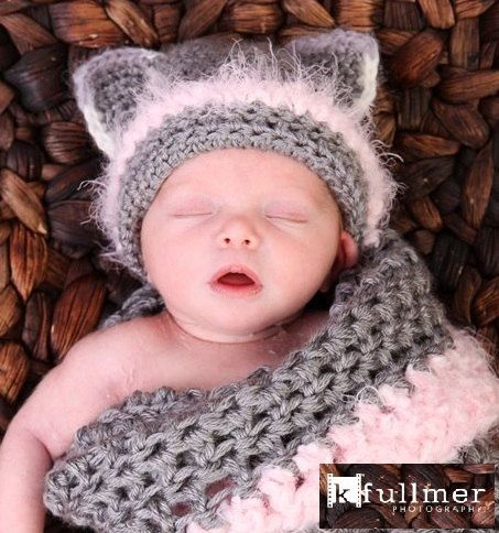 Kitty Cocoon with infant kitty hat I made for my nephew's newborn (my great niece), scrumptious!    https://www.etsy.com/shop/YvetteMarieDesigns