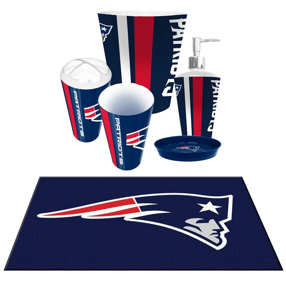 New England Patriots Nfl 6pc Bath Accessories Set