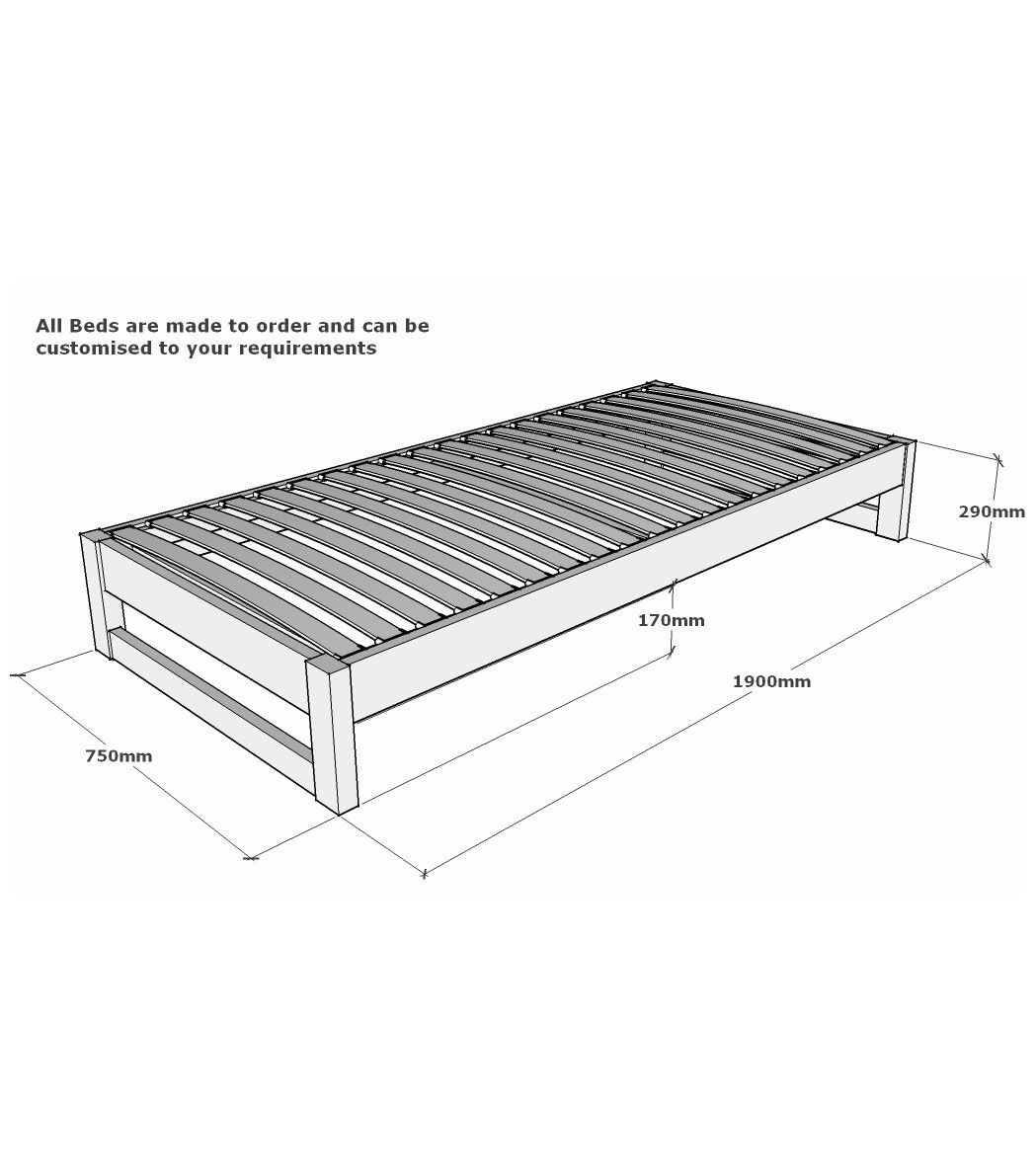 Charnwood Solid Oak Small Single Bed Frame 2ft 6 - Oak Small Single ...