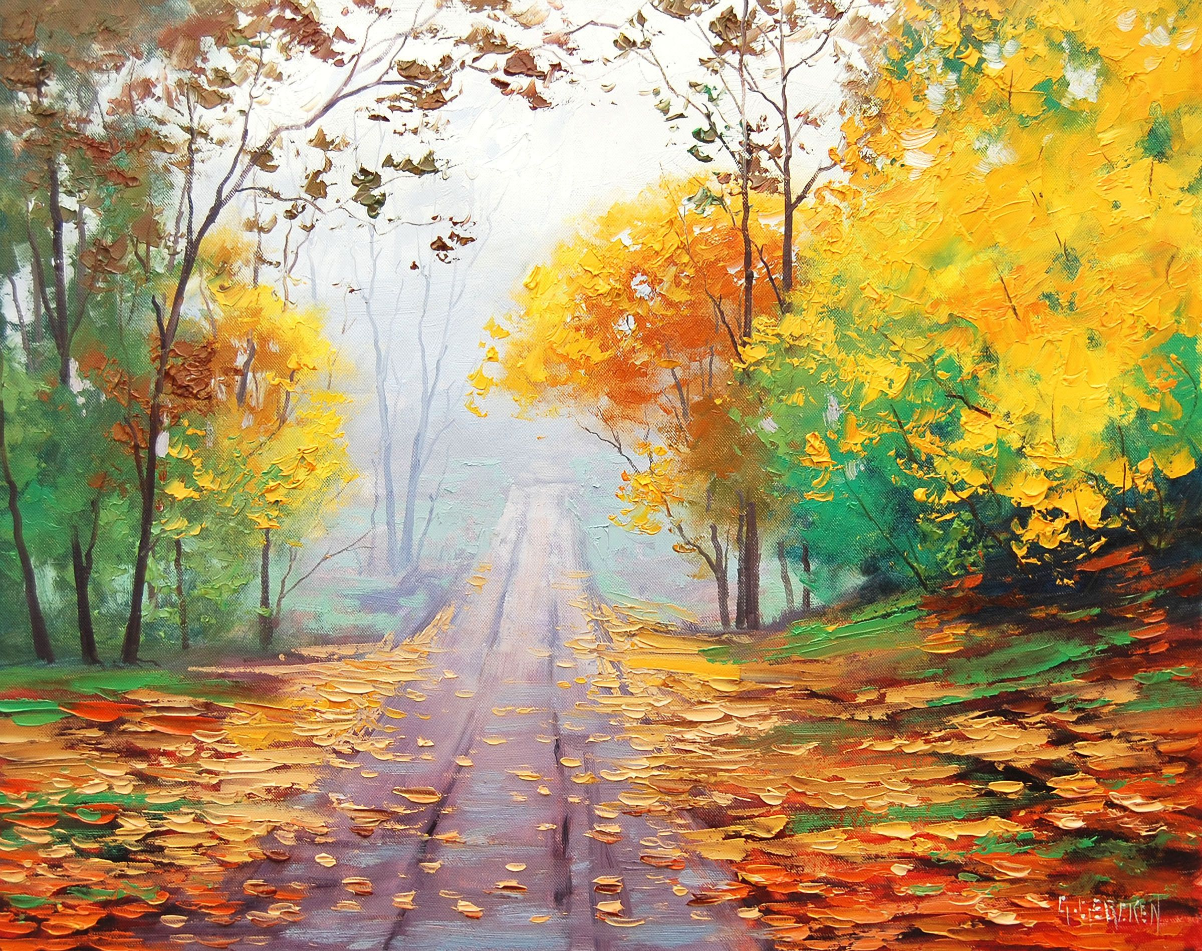 Wallpapers For > Oil Painting Wallpapers Autumn painting