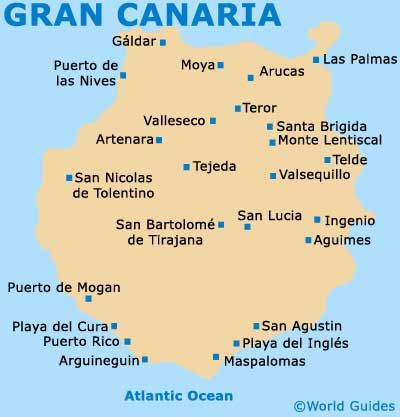 Map And Surrounding Islands Of The Gran Canaria Gran Canaria