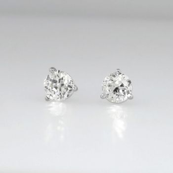 Something Old New 90ctw Cut Diamond Stud Earrings 14k Antique And Estate