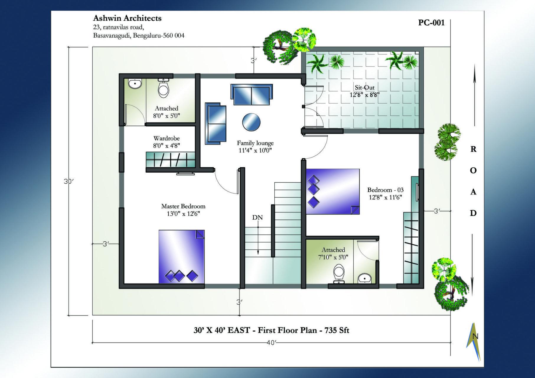 30 X 40 East Facing House Plan 1st Floor 20x40 House Plans House Plans Online House Plans