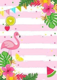 Convite Flamingo E Abacaxi Fundos De 2019 Festa Festa Tropical