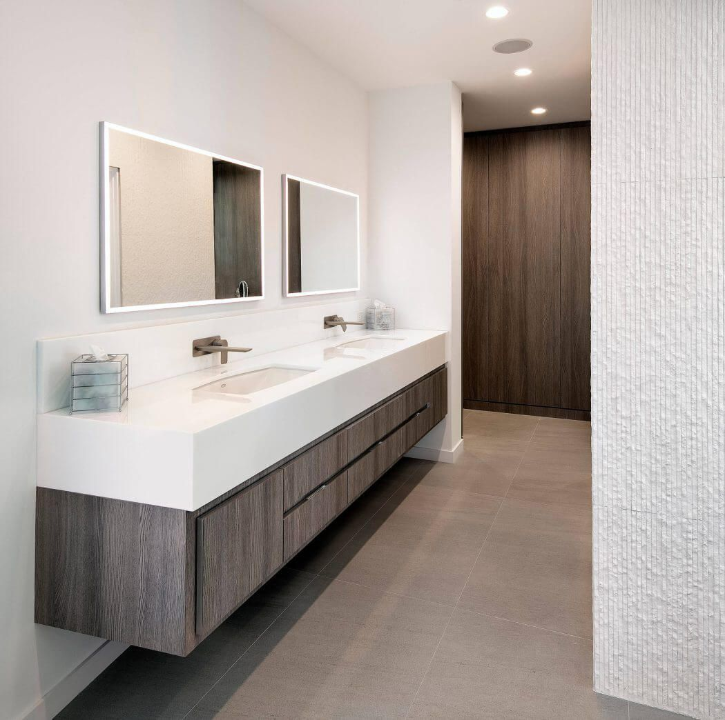 An accent wall with marble mosaic tile