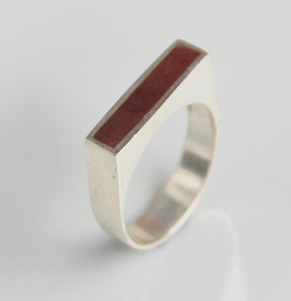 Square Silver Ring with Copper Accent - Thin, Statement, Modern, Minimalist - pinned by pin4etsy.com