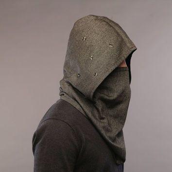 84e58cd164b Futuristic clothing   Wool hooded scarf   Men scarf  Men neck warmer    Scarf…