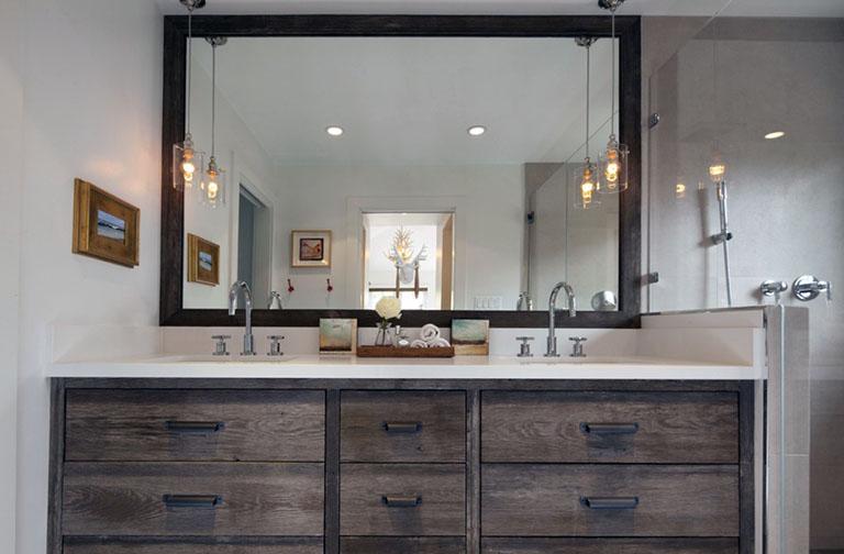 large mirror on bathroom vanity josh bathroom bathroom rustic rh pinterest com