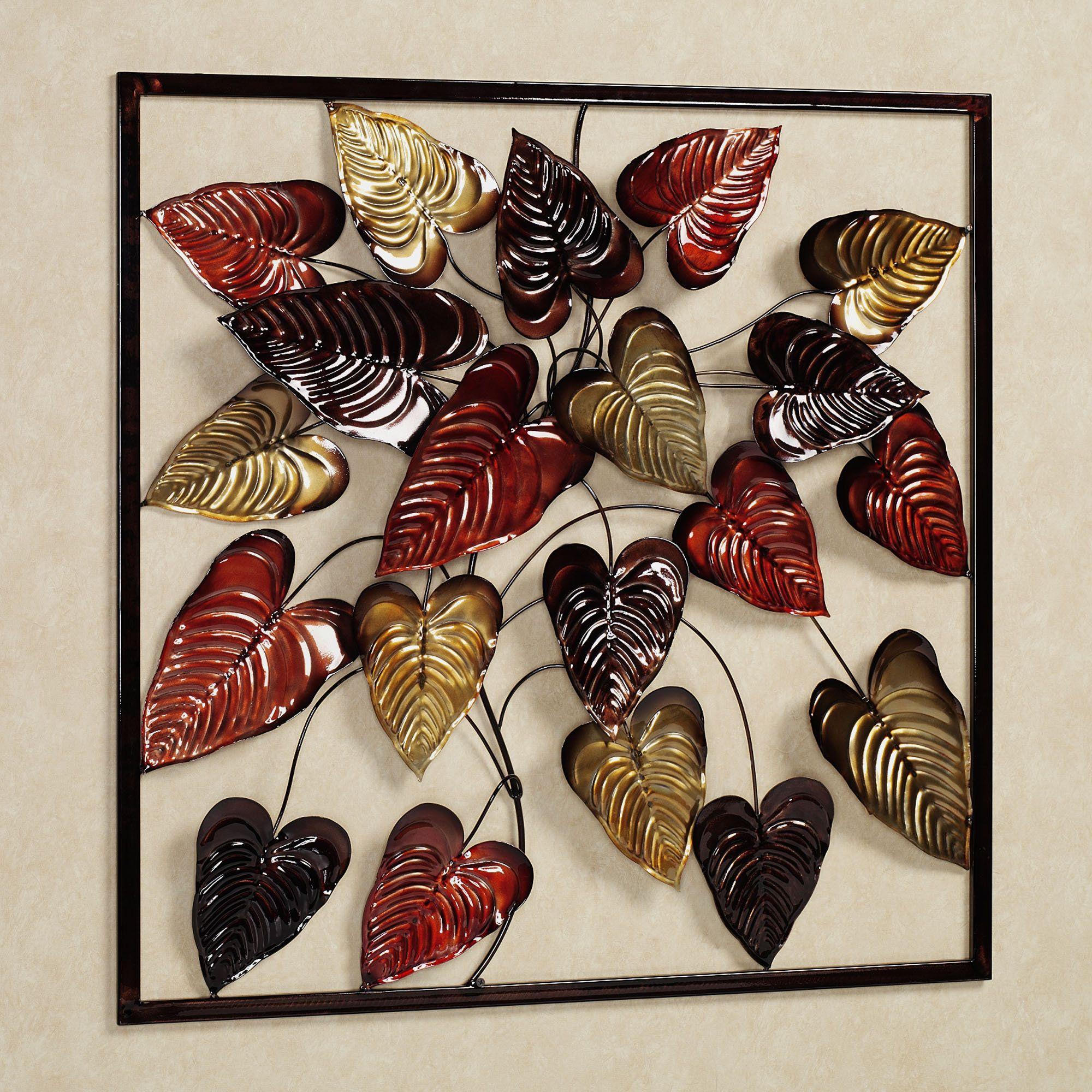 tropical palm leaves bouquet metal wall art leaf wall on metal wall art id=45814