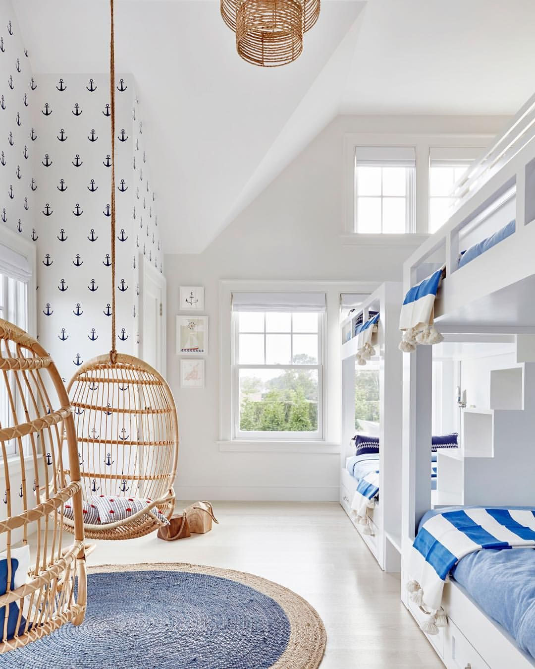 kids hanging chair for bedroom%0A A nautical kids room Hanging Rattan Chairs via Serena  u     Lily Image via  Chango  u     Co