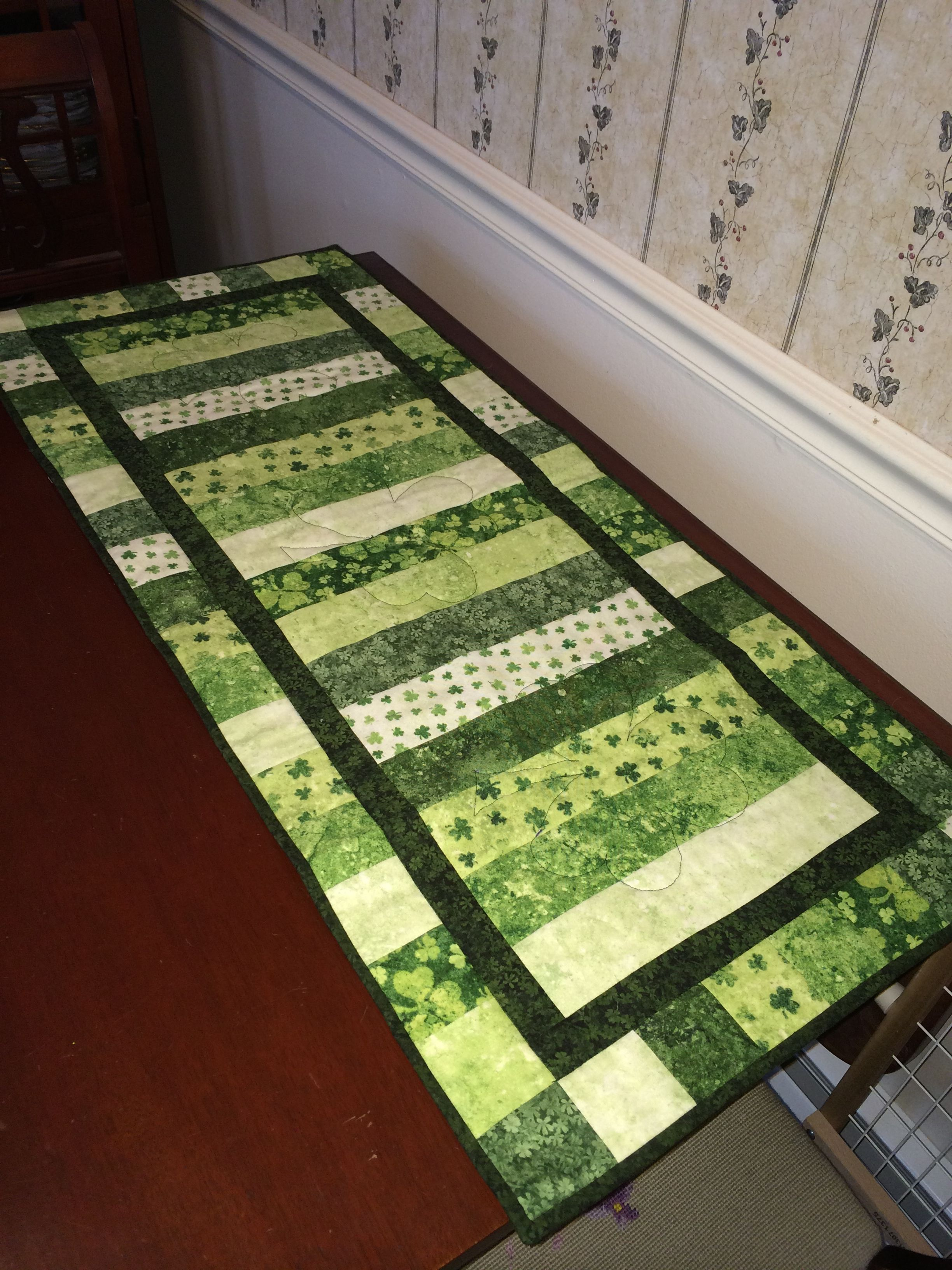 Front side of reversible St. Patrick's Day table runner