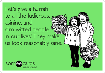 Let's give a hurrah to all the ludicrous, asinine, and dim-witted people in our lives! They make us look reasonably sane.