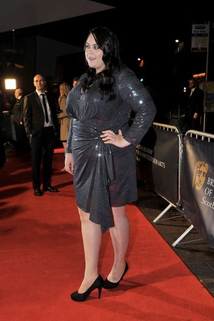 Sharon Rooney - Star of My Mad Fat Diary in SLiNK Boutique, David Meister Charcoal Seuin Dress - Plus Size Fashion