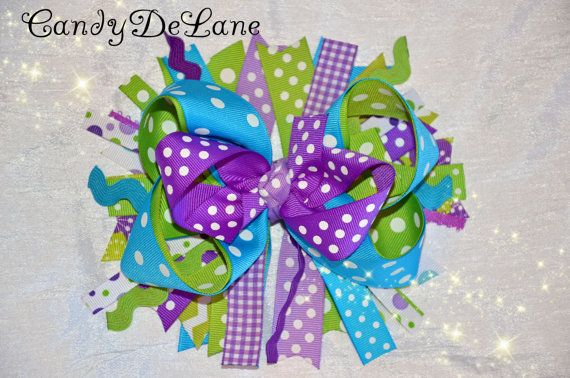 RAINFOREST  Deluxe 7 inch  Bow  Hair Candy by CandyDeLane on Etsy, $15.00