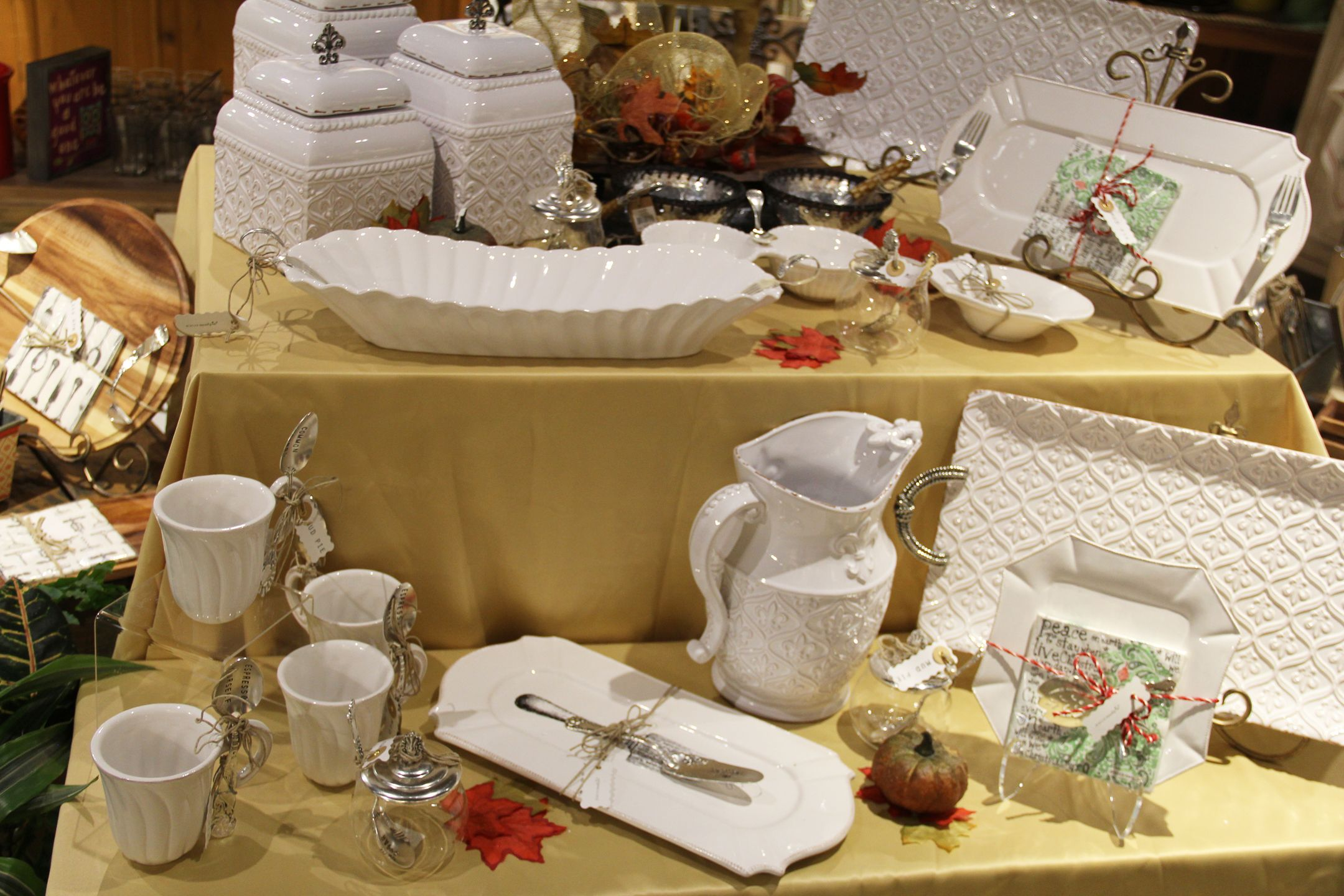 A spin on classic white dinnerware. http://D-DFarmRanch.com