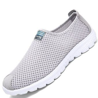 Sepatu Pinsv Jala Bernapas Fashion Wanita Sepatu Kets Abu Abu