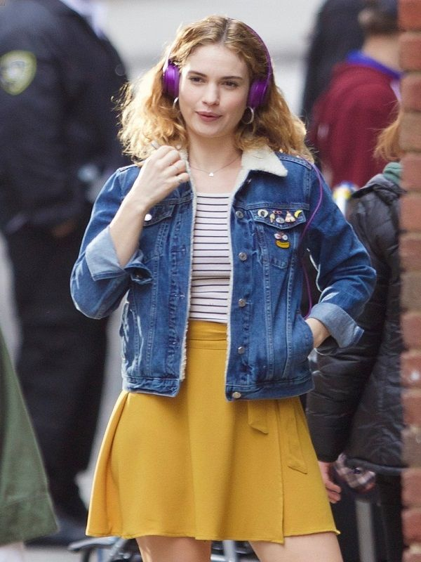 Lily James Baby Driver Blue Jacket Lily James Baby Driver Blue Fur Jacket Baby Driver