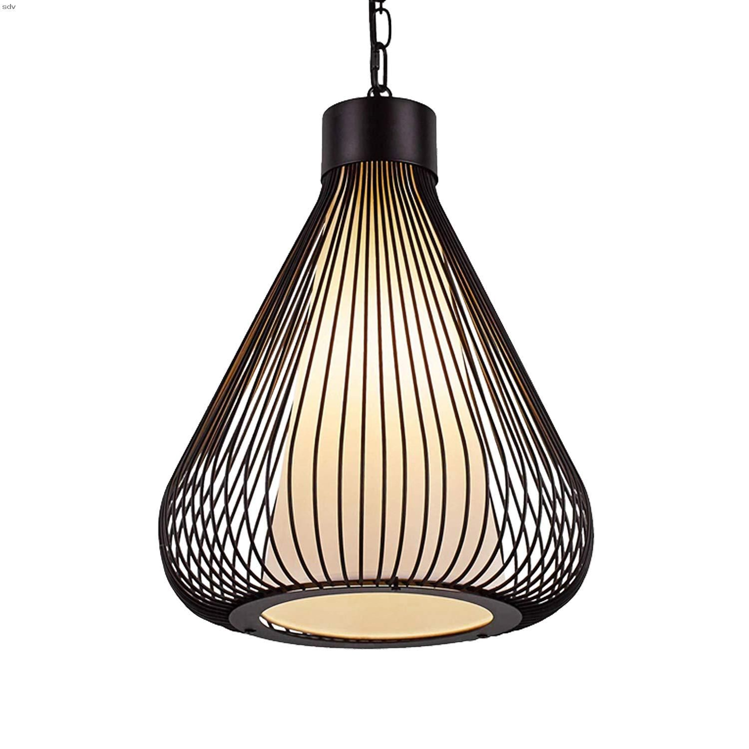 Aidos Modern Wrought Iron Pendant Lighting Industrial Black Metal Lampshade Light Fixtures For Kitchen Island And Bedroom Hanging Lamp With Adjustable Chain