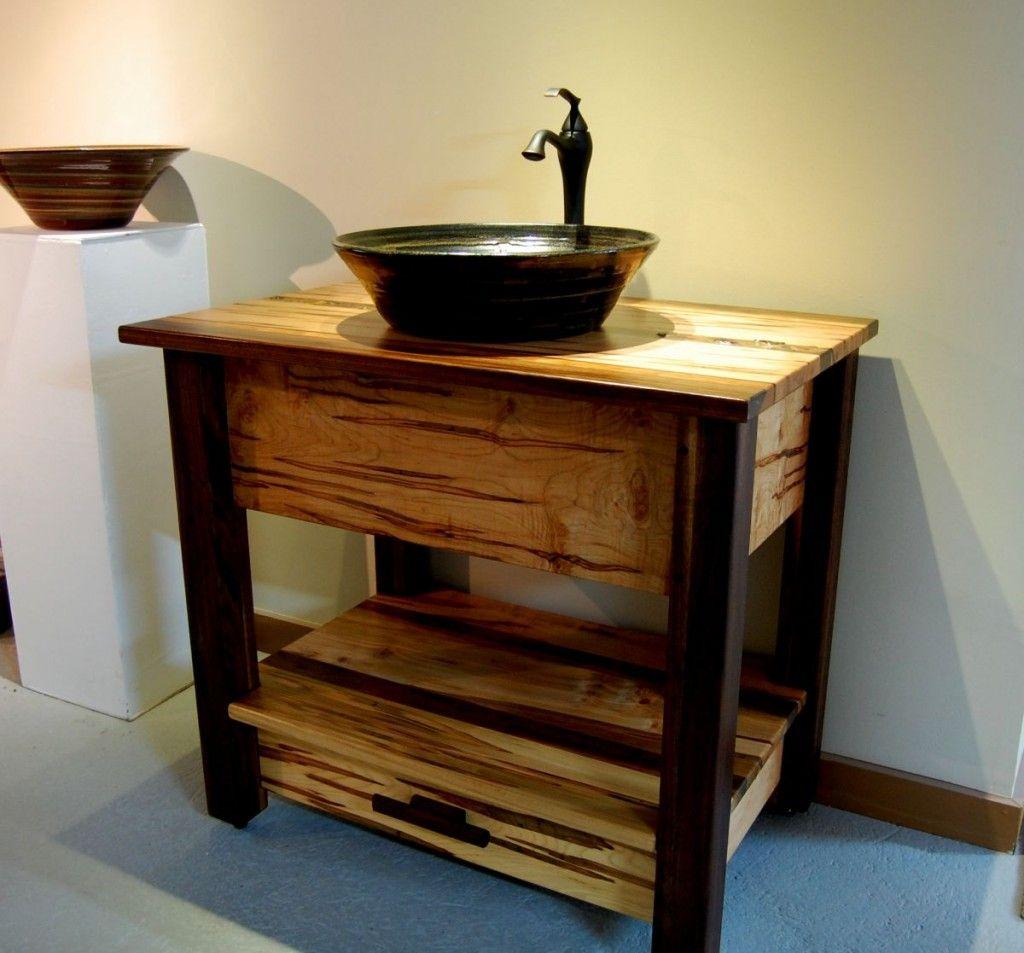 Install A Vessel Sink Vanity Base Wooden Bathroom Vanity Rustic