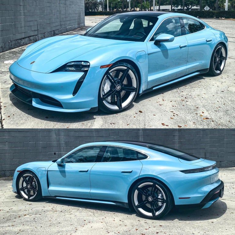 Frozen Blue Taycan Turbo Some Hated It But I Think It S Gorgeous Especially Those White Calipers Porsche Porsche Taycan Dream Cars Bmw Super Sport Cars
