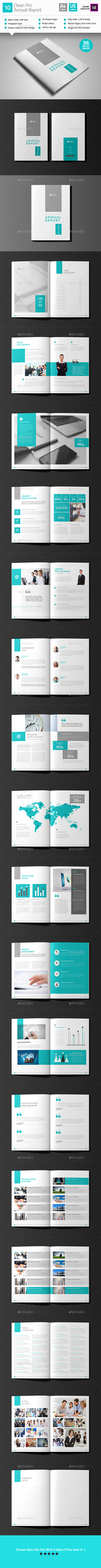 Clean Annual Report Brochure Template Indesign Indd  Brochure