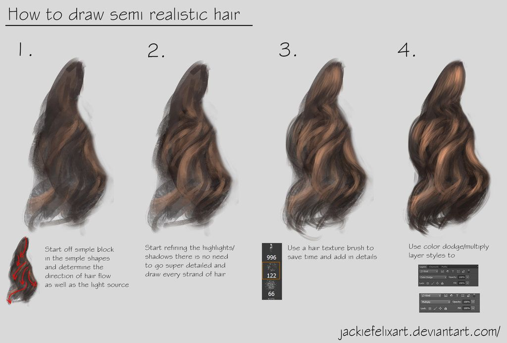 How To Draw Semi Realistic Hair Tutorial By Https Jackiefelixart Deviantart Com On Deviantart Realistic Hair Drawing Hair Tutorial How To Draw Hair