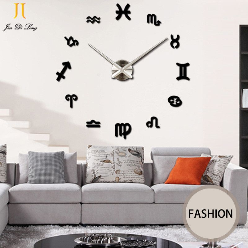 *Large Mirror Wall Stickers Clock Living Room DIY Wall Clock Bedroom Bedroom  Western Style 3D