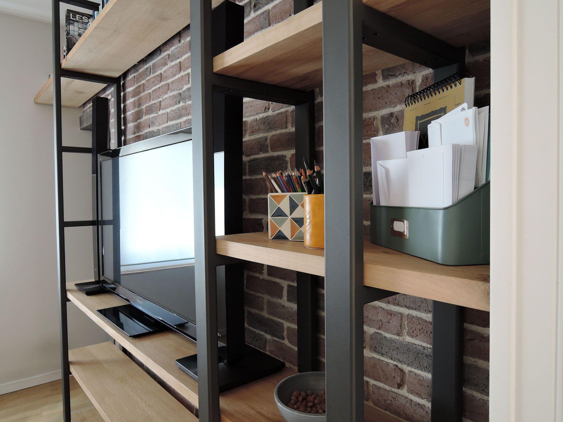 Syst Me De Rangement En Acier Et Bois Massif Biblioth Que  # Meubles Combines Bibliotheques Tv