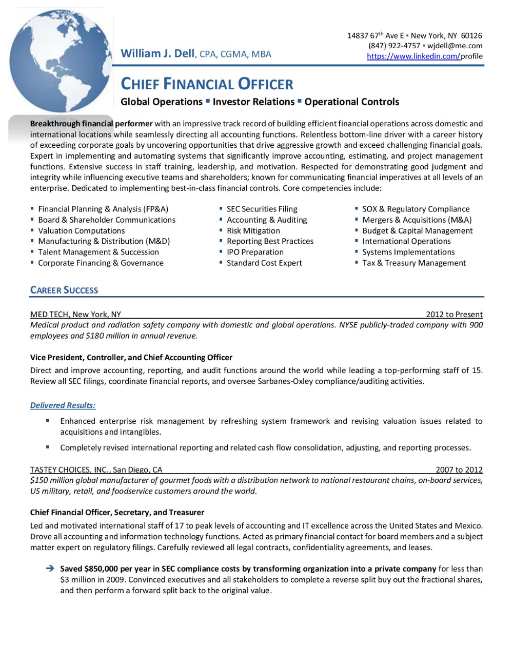 Cfo Global Operations 1 Resume Services Resume Executive Resume
