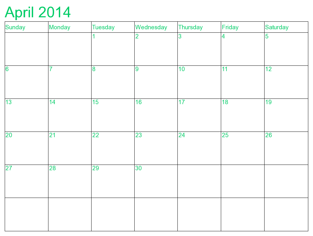 April 2014 Calendar Printable Printable April 2014 Calendars