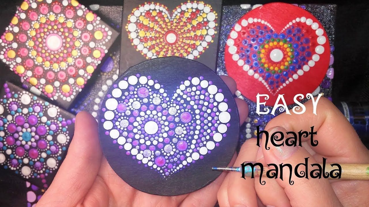 How To Paint Dot Mandalas Easy Valentines Day Heart Tutorial