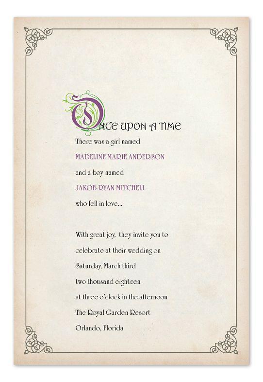 Love The Wording Printable Fairy Tale Wedding Invitation Suite