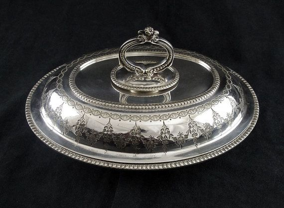 antique silver plate double covered oval serving bowl engraved rh pinterest com