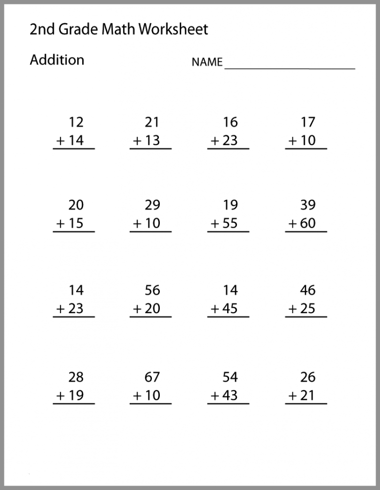 2nd Grade Math Worksheets Best Coloring Pages For Kids 2nd Grade Math Worksheets Math Addition Worksheets Second Grade Math