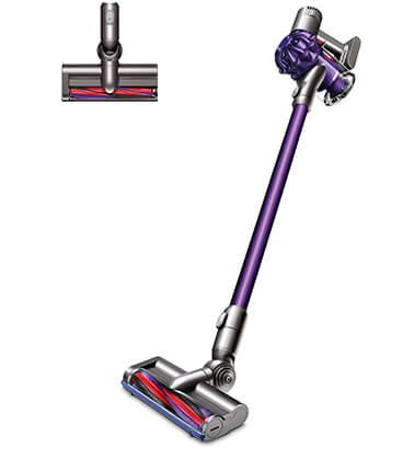 Image of: V7 V8 Side View Of The Dyson V6 Animal Cordless Vacuum Cleaner With Purple Cyclone Pack And Wand And The Carbonfibre Turbine Head Pinterest Side View Of The Dyson V6 Animal Cordless Vacuum Cleaner With Purple
