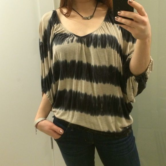 ❤️ Ella Moss ❤️ Drapey striped tie-dye shirt Dananananananana bat shirt! Ella Moss striped drapey shirt with loose elastic cuffs. Stripes are navy blue and beige. 100% micro modal. Made in USA. Anthropologie Tops