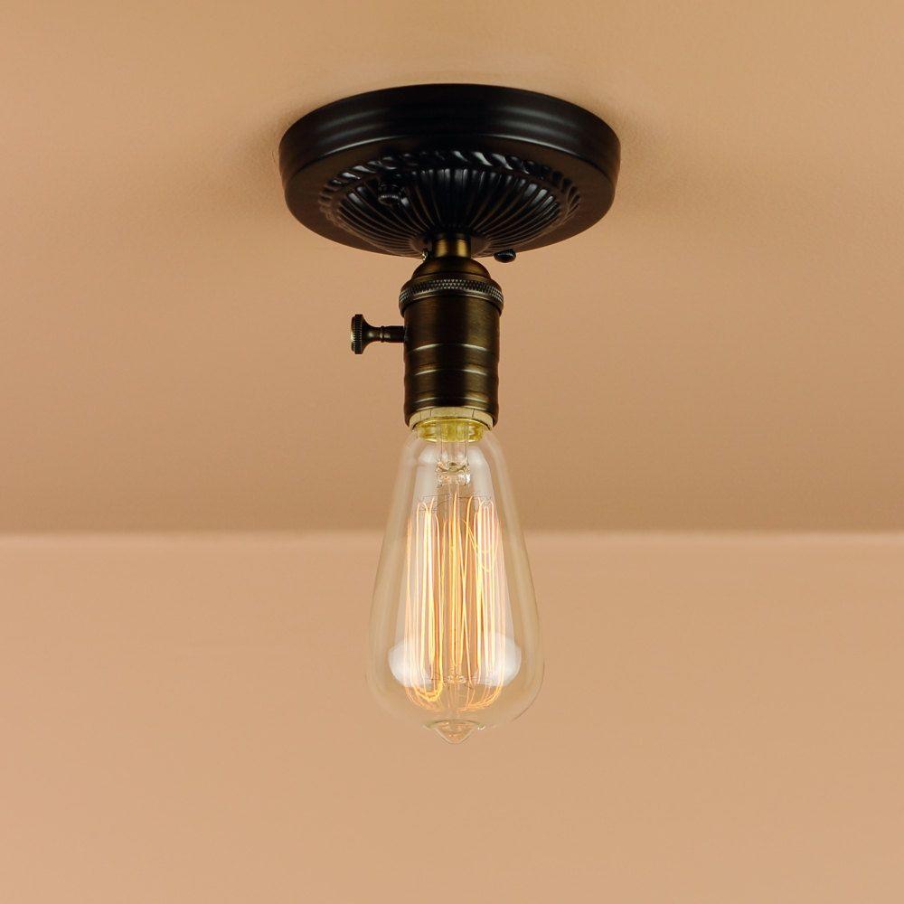 Industrial Lighting - Semi Flush Mount in Black, Satin Nickel ... for Bulb Holder Design  58cpg