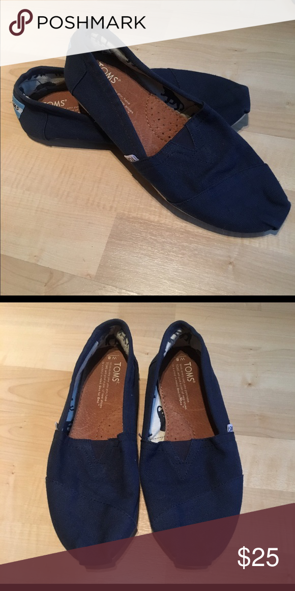 TOMS original shoes Navy blue TOMS shoes- size 8- only worn a handful of times- excellent condition, and willing to do a bundle with the white crochet pair in my closet! TOMS Shoes Flats & Loafers
