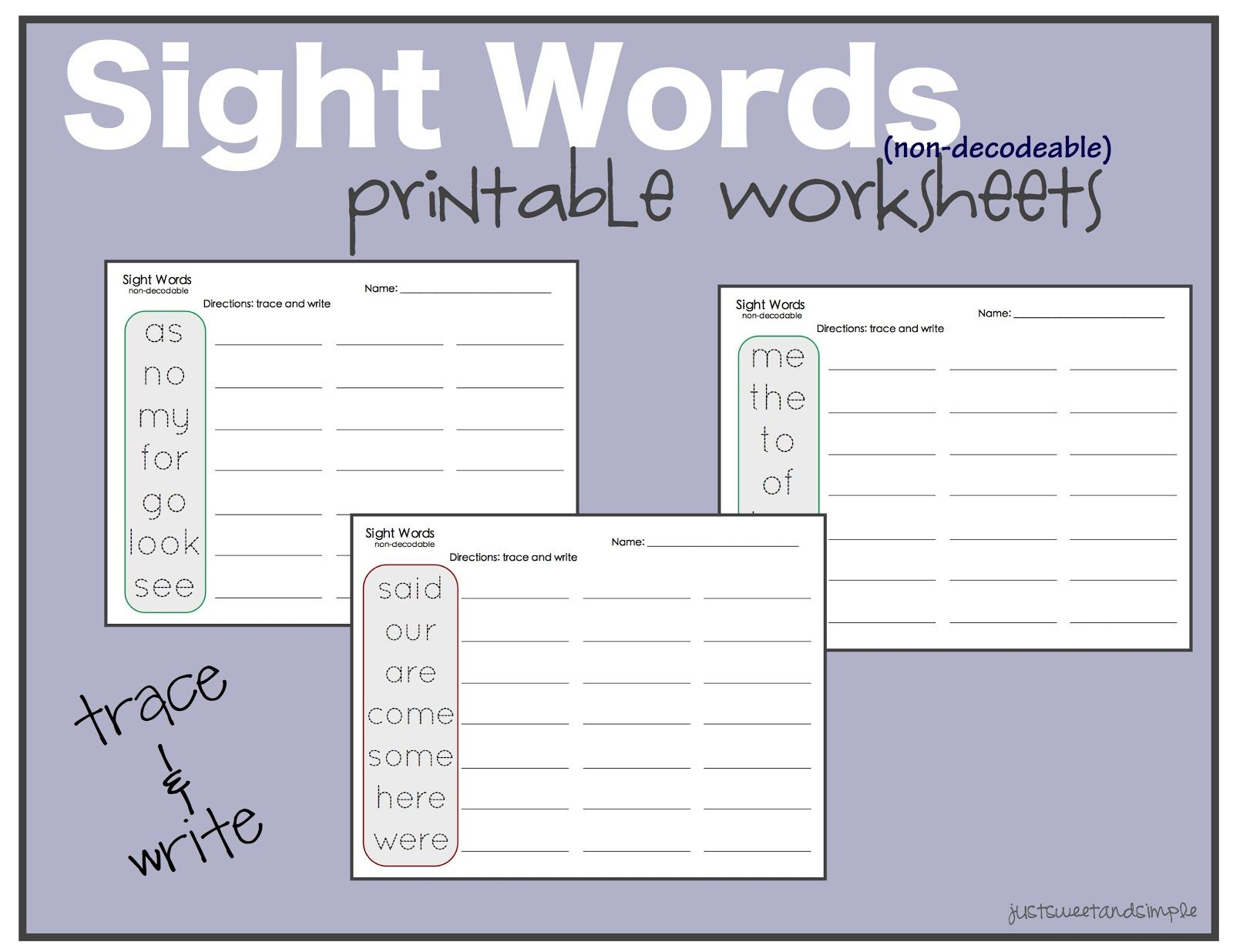 Just Sweet And Simple Preschool Practice Sight Word Practice Worksheets