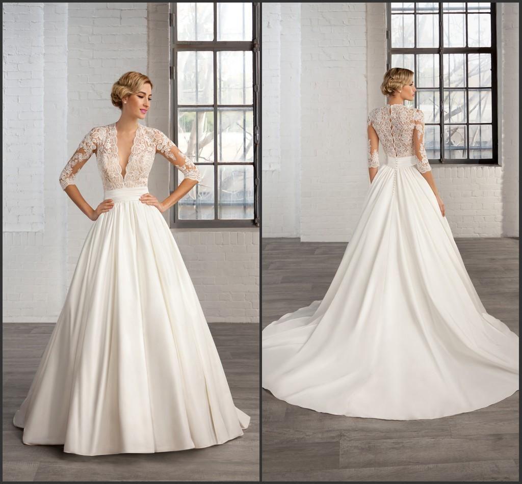 Trending  A Line Satin Vintage Wedding Dresses Long Sleeve Sheer Deep V Neck