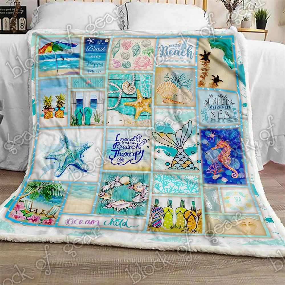 Beach Life Sofa Fleece Blanket 50x60x80 Made In US