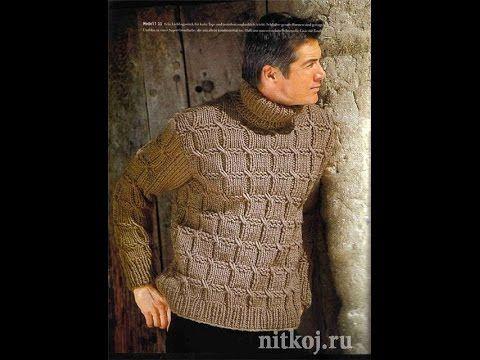 edf37556ca69 Вязание спицами оригинального узора для мужских свитеров, снудов, жилетов -  YouTube