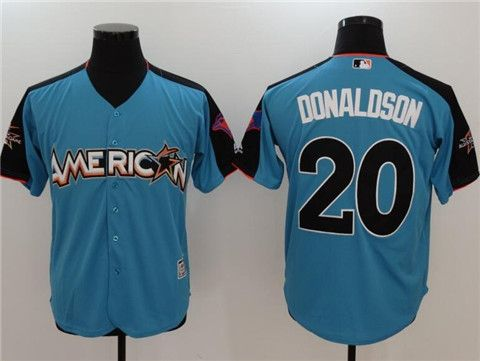 "e8790c5e8 ""Men s American League Toronto Blue Jays  20 Josh Donaldson Majestic Blue  2017 MLB All-Star Game Authentic Home Run Derby Jersey   22"""