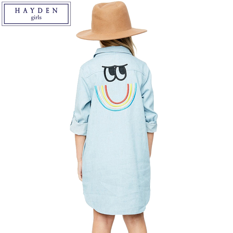 34.95$  Watch here - http://aliyzp.shopchina.info/go.php?t=32800863256 - HAYDEN Girls Denim Shirt Dress Long Sleeve Embroidered Jeans Dress Shirts Roll Up Sleeve Denim Dresses Kids Clothes Brand  #SHOPPING
