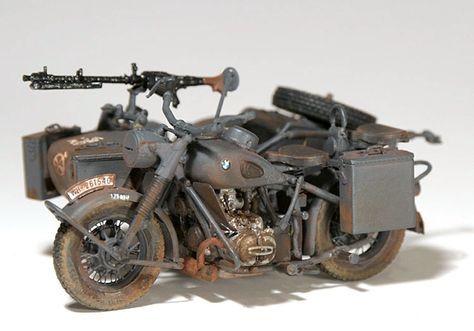 Sd Kfz 10 und Flugabwehrgeschütze 2cm FlaK 3 WW2 Foto # 298 BMW R75 Motorrad