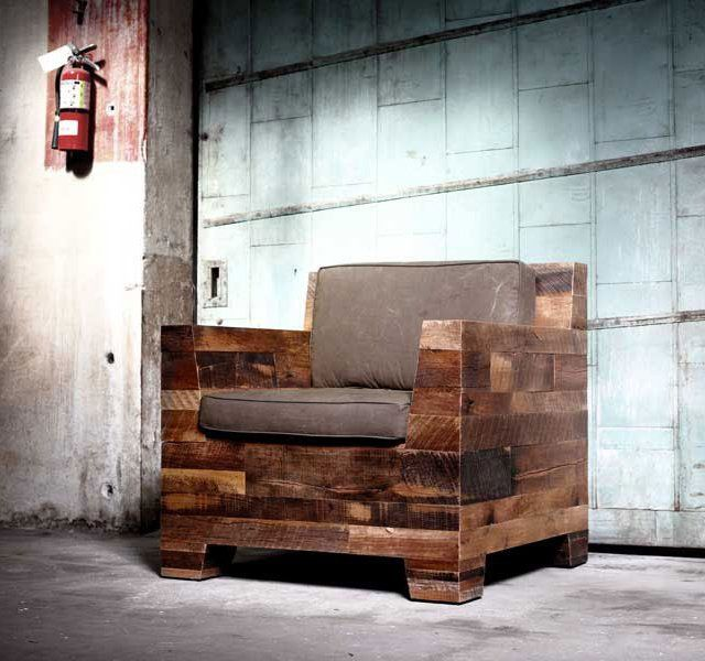 This is made from - Reclaimed Wood Chair Solar Design