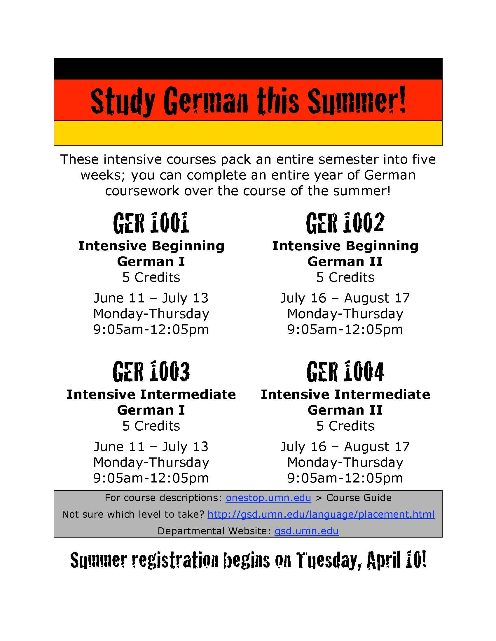 We offer four intensive German language courses in the