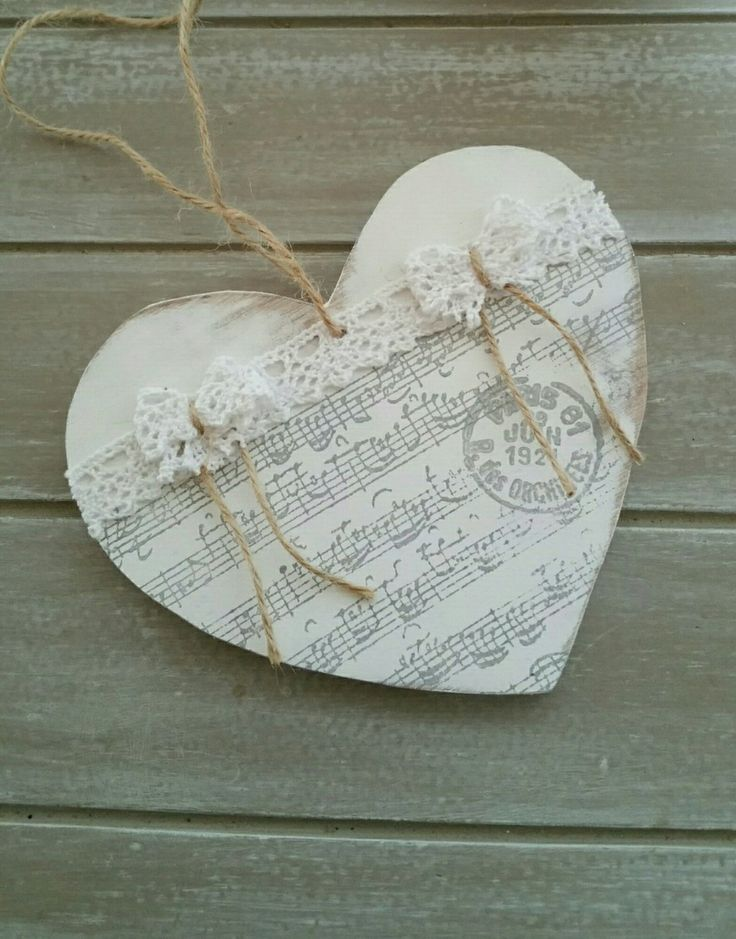Suspended Wooden Heart In 2020 Wooden Hearts Heart Decorations Shabby Chic